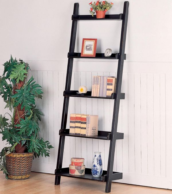 ladder-style leaning bookshelf. photo credit: Woodstock Furniture Outlet
